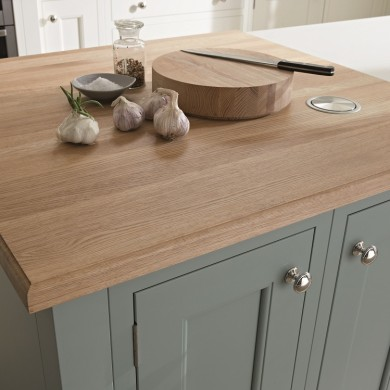 1909 Kitchen range - solid Oak worktop with pop up socket