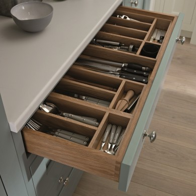 Solid Oak internal cutlery tray - 1909 kitchen range
